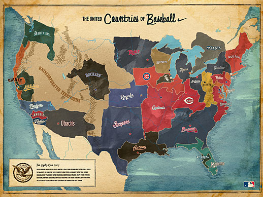 Map showing the United Countries of Baseball