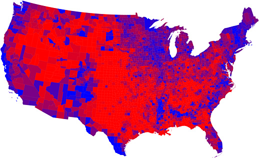 Map showing how counties voted in the 2008 Presidential elections